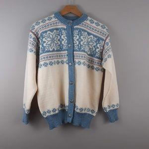 L.L. Bean Cardigan Fair Isle Sweater VTG 100% Wool